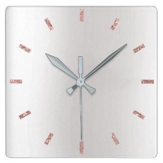 Horloge Carrée Le rose gris d'argent rougissent noir minimal rose