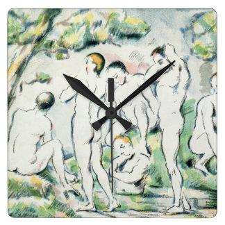 Horloge Carrée Les baigneurs, petit plat