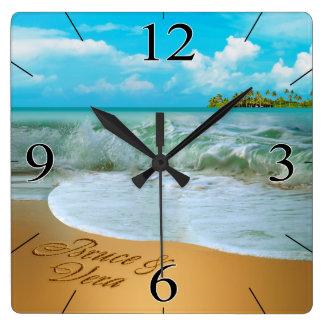 Horloge Carrée Les étoiles de mer couplent ME DEMANDENT DE METTRE