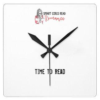 Horloge Carrée Les filles futées ont lu l'heure Romance de lire