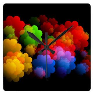 Horloge Carrée Les nuages des rêves brillamment colorés