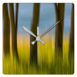 Horloge Carrée Les troncs d'arbre et engazonnent les îles de |