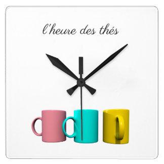 Horloge Carrée L'heure des thés