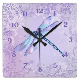 Horloge Carrée Libellule en pastel