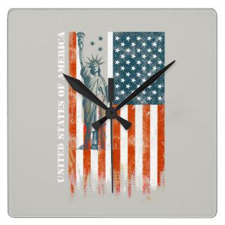 Horloge Carrée Liberté de drapeau des Etats-Unis, Amérique, art