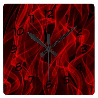 Horloge Carrée Ligne sinueuse rouge au néon à la mode moderne