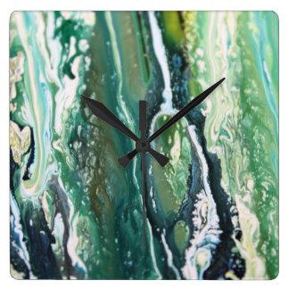 Horloge Carrée Lignes de peinture d'abrégé sur verticale de