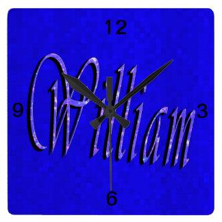 Horloge Carrée Logo nommé de William,