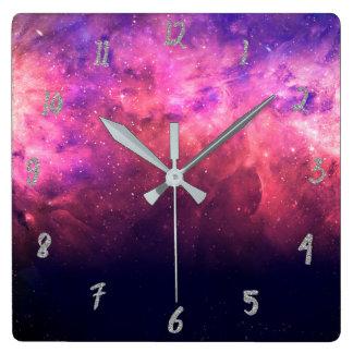 Horloge Carrée Lueur cosmique du feu de ciel de galaxie de ciel