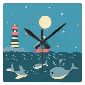 Horloge Carrée Lumière et bateau