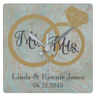 Horloge Carrée M. et Mme bleus et de cuivre Wedding