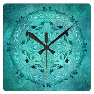 Horloge Carrée Mandala floral ethnique de grunge de turquoise