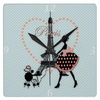 Horloge Carrée Marche vintage romantique mignonne de silhouette d