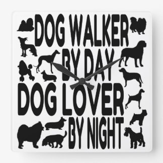 Horloge Carrée Marcheur de chien d'amoureux des chiens