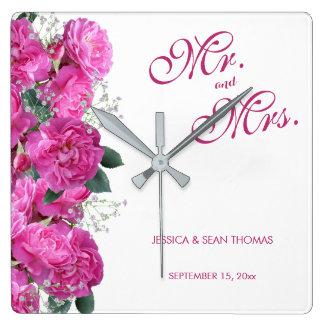 Horloge Carrée Mariage romantique de bouquet floral
