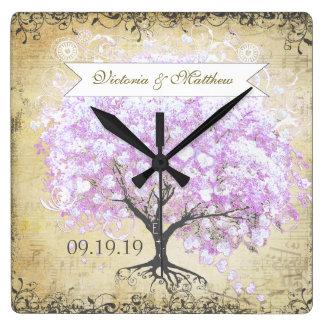 Horloge Carrée Mariage vintage d'oiseau d'arbre de lavande de