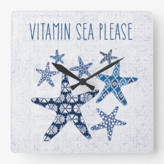 Horloge Carrée Mer côtière de vitamine de l'art | svp