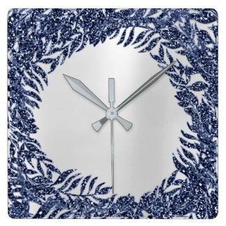 Horloge Carrée Métallique tropical de bleu marine de paume