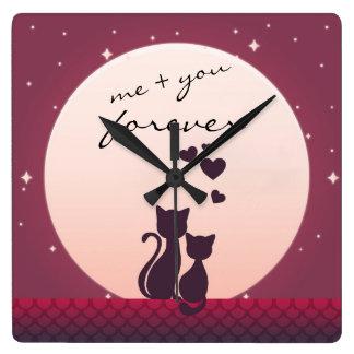 Horloge Carrée Moi et vous pour toujours chats romantiques dans