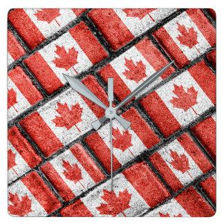 Horloge Carrée Motif canadien de motif de drapeau