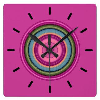 Horloge Carrée Motif circulaire multicolore de roses indien