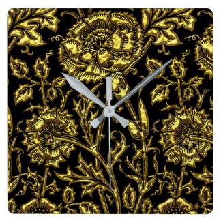Horloge Carrée Motif coloré par or sur le noir