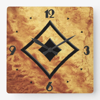 Horloge Carrée Motif de gemme, oeil de tigre d'or et onyx de noir