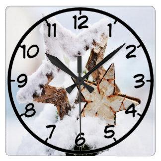 Horloge Carrée motif d'hiver