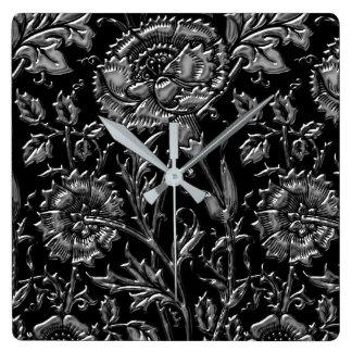 Horloge Carrée Motif floral coloré par argent