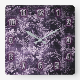 Horloge Carrée Motif floral vintage grunge dans le pourpre foncé