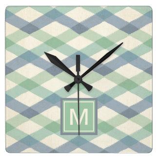 Horloge Carrée Motif géométrique en pastel extérieur d'étape   de