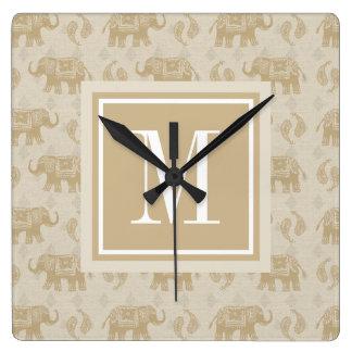 Horloge Carrée Motif kaki de caravane d'éléphant