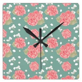 Horloge Carrée Motif sans couture de fleur douce d'oeillet
