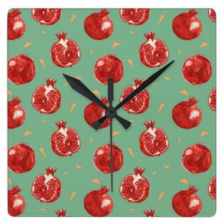 Horloge Carrée Motif sans couture de vecteur de fruit de grenade