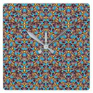Horloge Carrée Motif stylisé exotique de nature