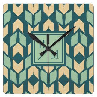 Horloge Carrée Motif turquoise géométrique extérieur de flèche