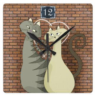 Horloge Carrée Mur de briques romantique mignon d'amour de bande