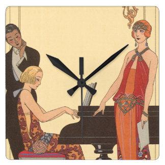 Horloge Carrée Musique vintage, chanteur de musicien de pianiste