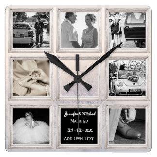 Horloge Carrée Neige de collage ou d'anniversaire de photo de