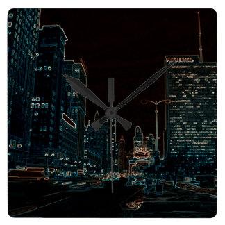 Horloge Carrée Noir rougeoyant de bords des années 1960 d'avenue