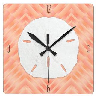 Horloge Carrée Nombres de plage du dollar de sable