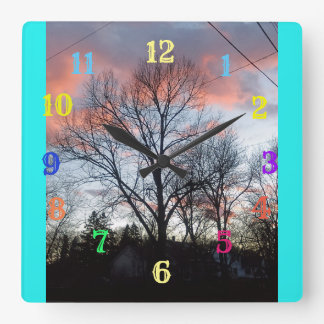 Horloge Carrée Nuages gonflés pelucheux