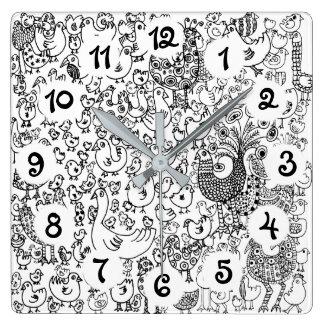 Horloge Carrée Oiseaux