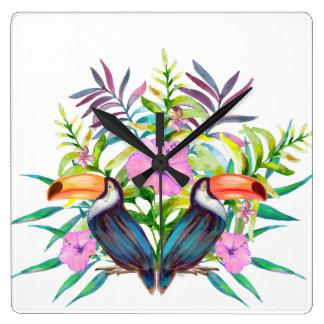 Horloge Carrée Oiseaux tucan tropicaux et fleurs roses