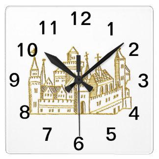 Horloge Carrée Or héraldique vintage de Faux de crête du château