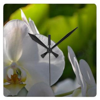 Horloge Carrée Orchidées