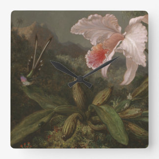 Horloge Carrée Orchidées et colibris de jungle