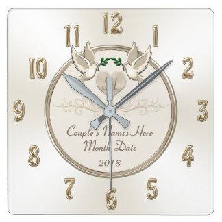 Horloge Carrée Outre du blanc cadeaux de mariage personnalisés