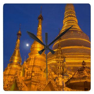 Horloge Carrée Pagoda de Shwedagon la nuit, Myanmar