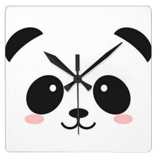 Horloge Carrée Panda heureux mignon de visage